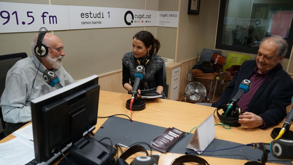 Elisabet Franch i Josep Ferré entrevistats per Eduard Jener / Foto: Guillem Babitsch (Cugat.cat)