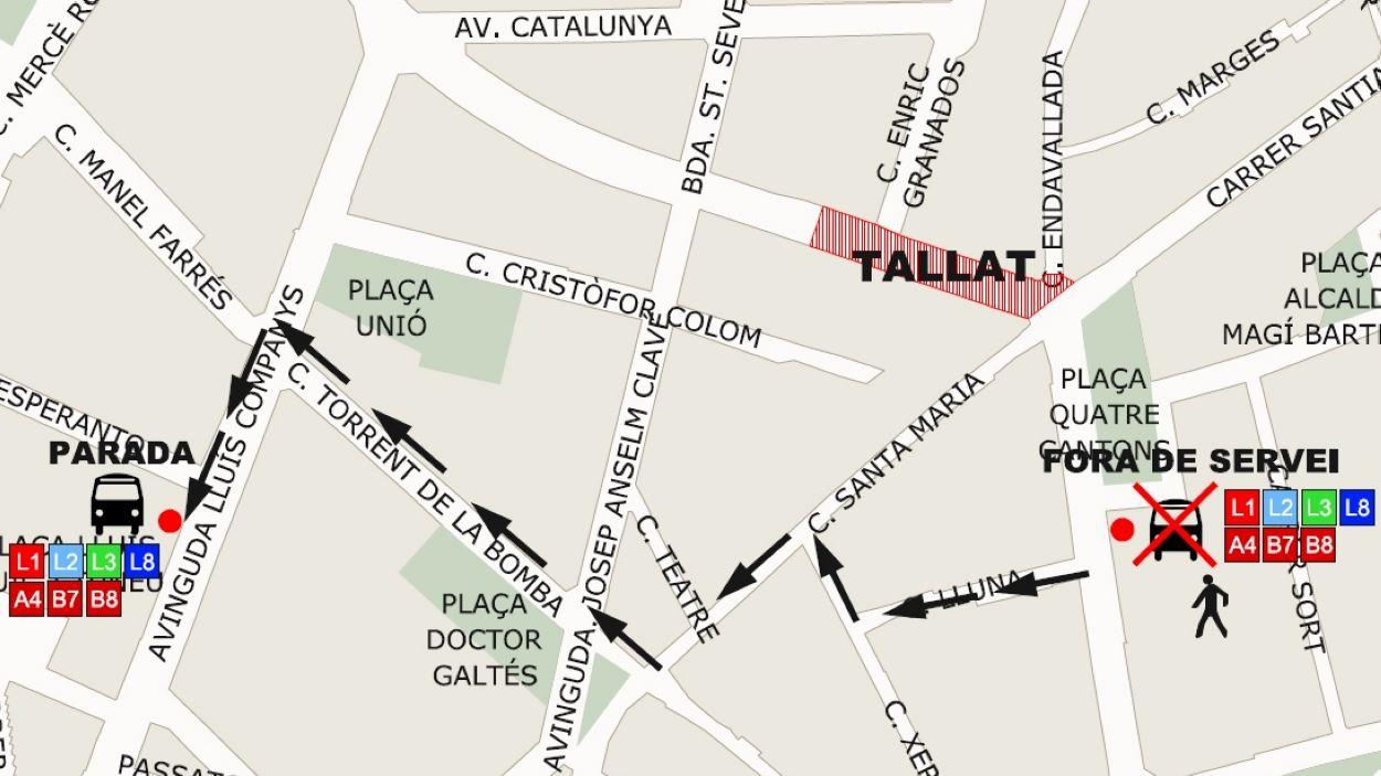 Tall de trànsit aquest diumenge a l'avinguda Rius i Taulet