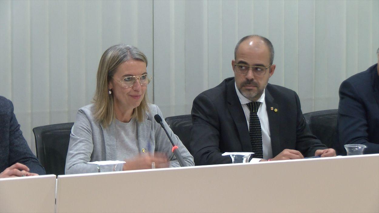 L'alcaldessa, Mireia Ingla, i el conseller de l'Interior, Miquel Buch / Foto: Cugat Mèdia
