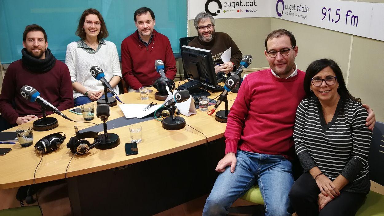 Els representants polítics a l'estudi Ramon Barnils de Ràdio Sant Cugat / Foto: Cugat Mèdia