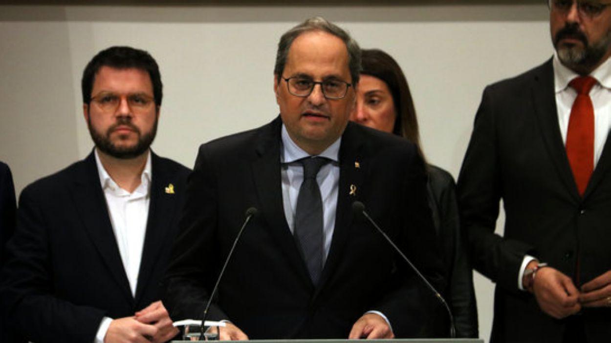 El president de la Generalitat, Quim Torra, en la declaració posterior a la seva inhabilitació / Foto: ACN