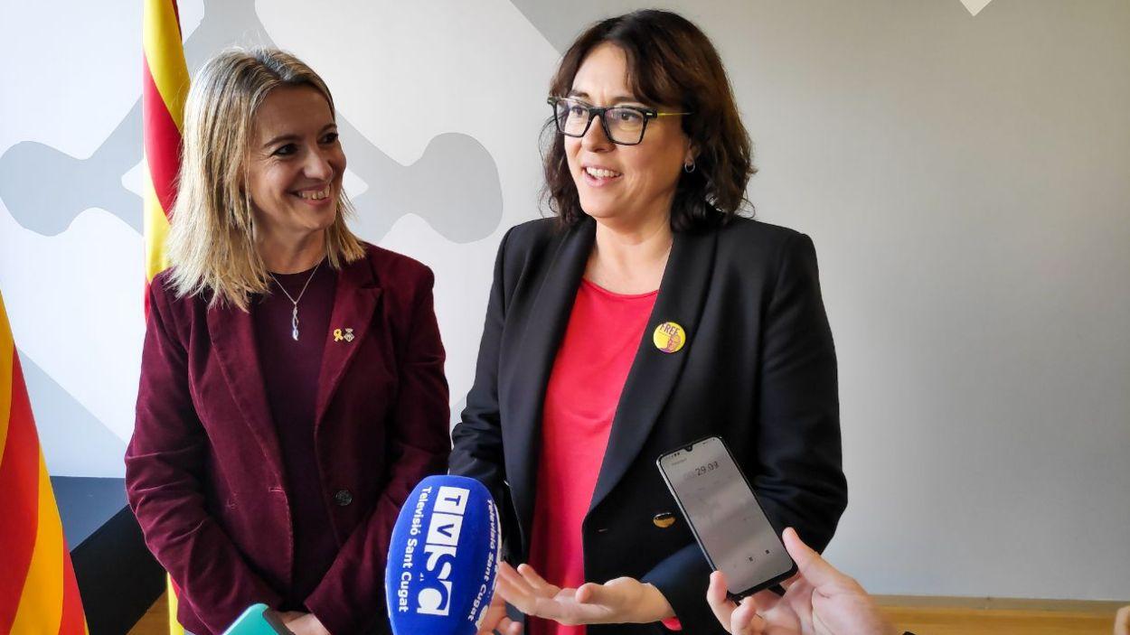 L'eurodiputada Diana Riba amb l'alcaldessa Mireia Ingla / Foto: Cugat Mèdia