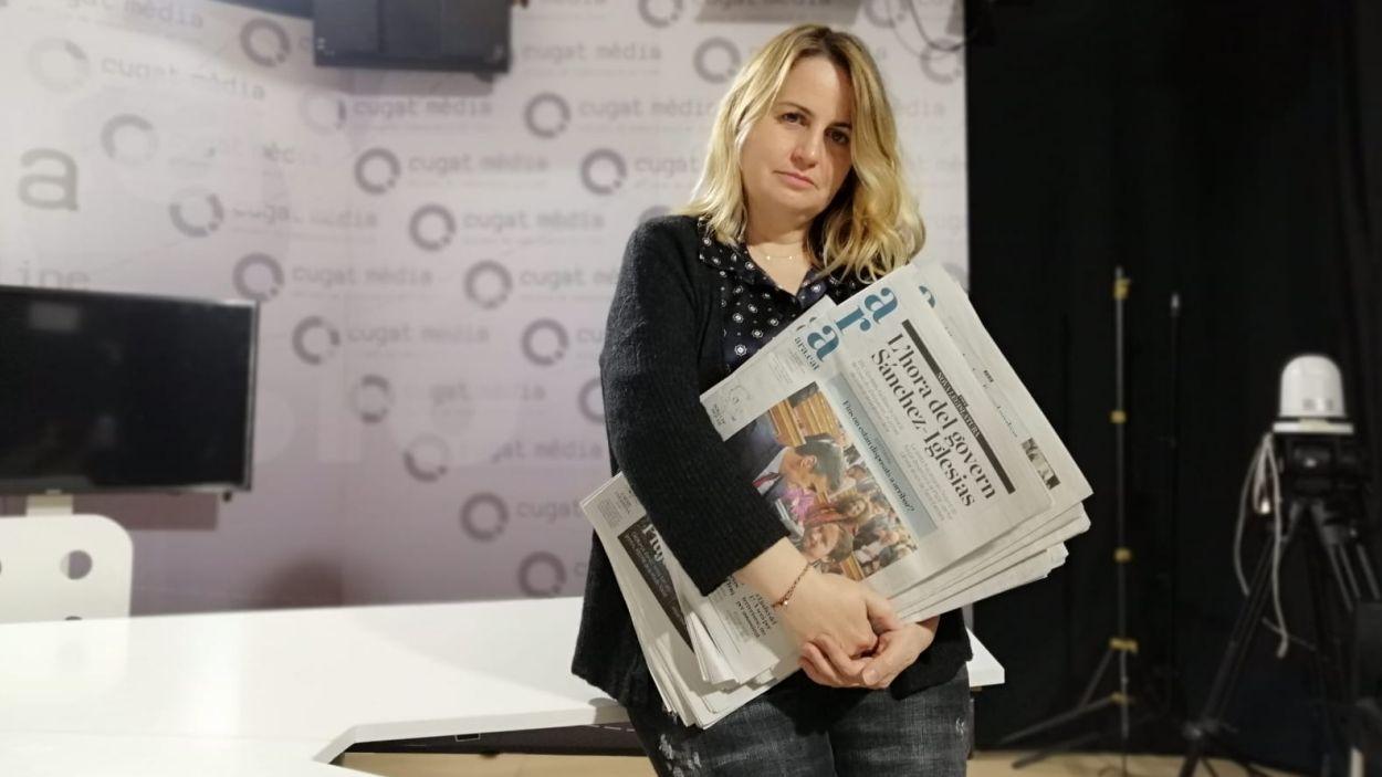 La periodista Mònica Planas a les instal·lacions de Cugat Mèdia / Foto: Cugat Mèdia