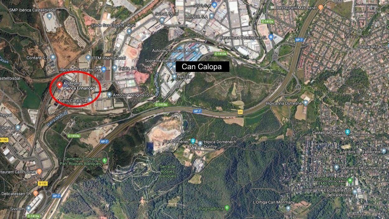 Encerclat en vermell, l'empresa Archroma Iberica Enhanced / Foto: Google Maps