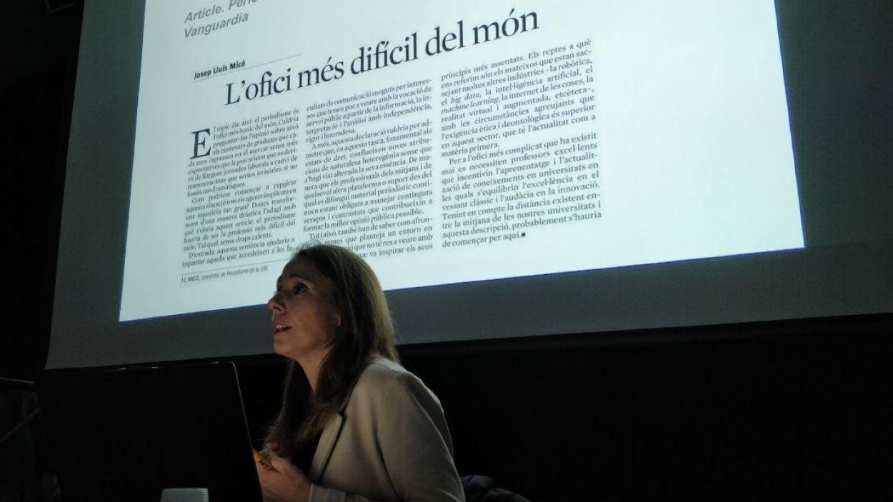 Lablanca durant la xerrada / Foto: Cugat Mèdia
