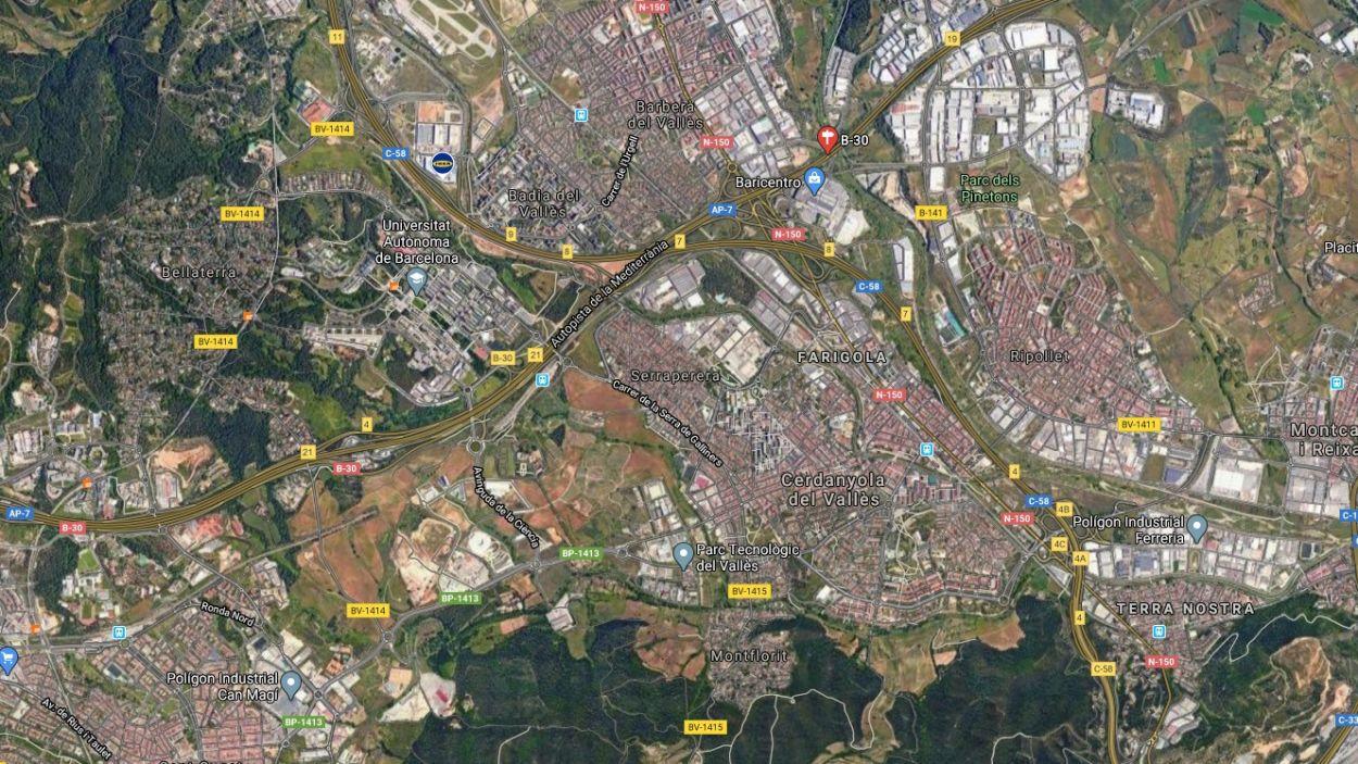 L'accident ha tingut lloc al terme municipal de Cerdanyola / Foto: Google Maps