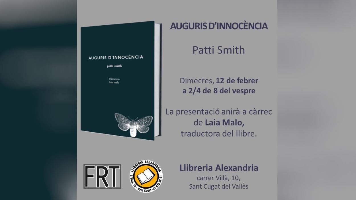Presentació de llibre: 'Auguris d'innocència', de Patti Smith