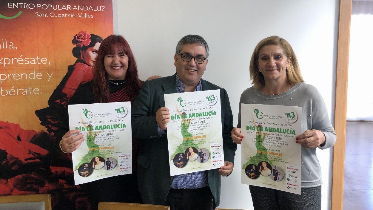 Membres de la junta del CPA Sant Cugat a la presentació dels actes del Dia d'Andalusia / Foto: Cugat Mèdia