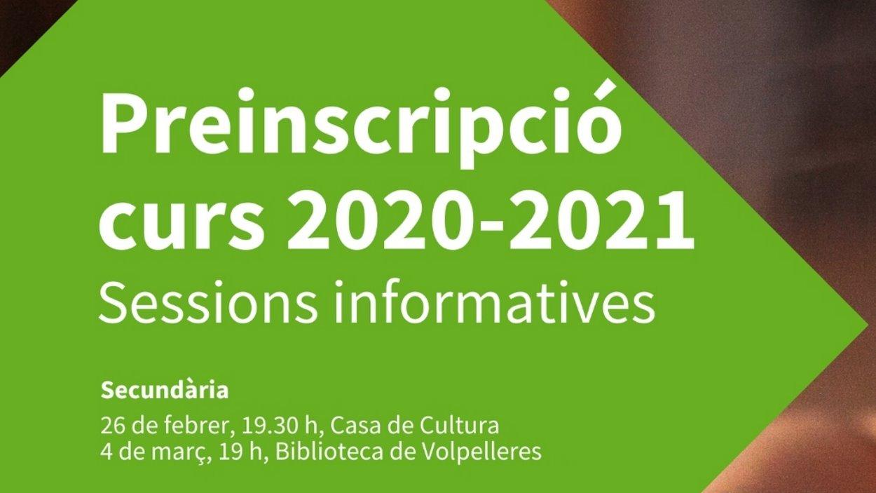 Sessions informatives preinscripció curs 2020-21: Secundària