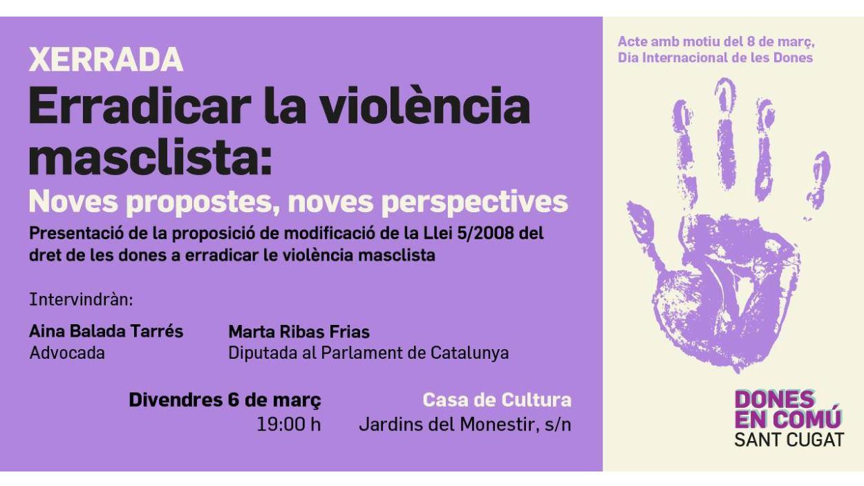 Xerrada-col·loqui: 'Erradicar la violència masclista: noves propostes, noves perspectives'