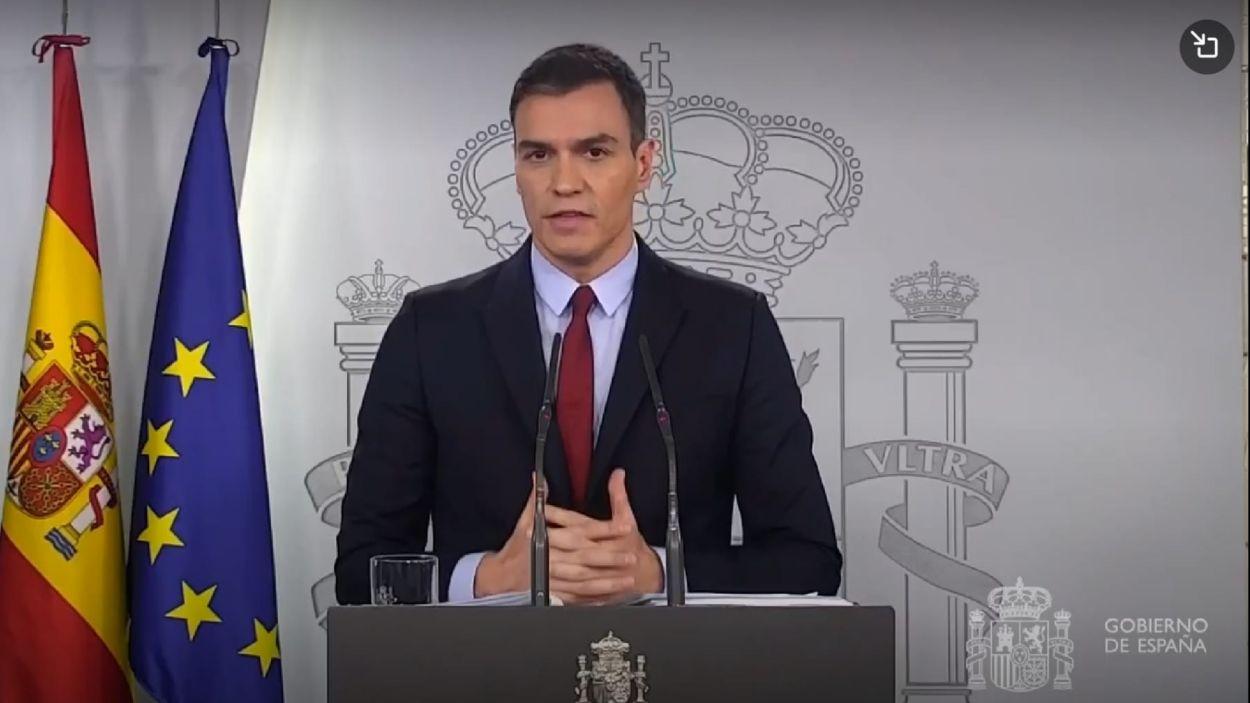 El president del govern espanyol, Pedro Sánchez, durant la compareixença / Foto: Moncloa