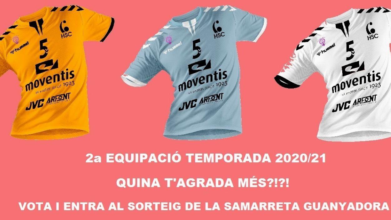 Les tres opcions de segona equipació de l'Handbol Sant Cugat / Font: Handbol Sant Cugat