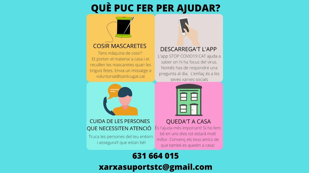 Per oferir o sol·licitar ajuda pots contactar amb la xarxa santcugatenca / Foto: Xarxa de Suport Sant Cugat