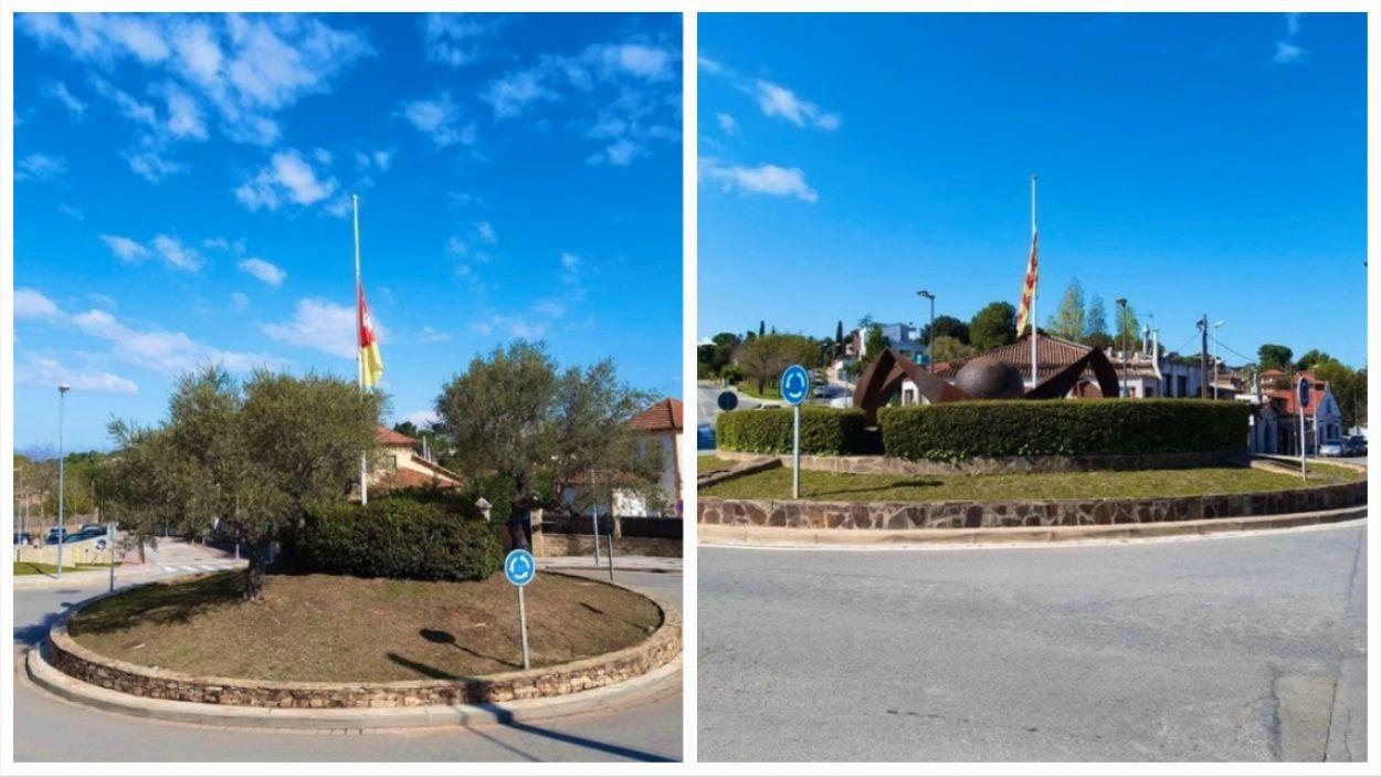 Imatge de les places de Can Cadena i Pompeu Fabra amb les banderes a mig pal / Foto: EMD Valldoreix