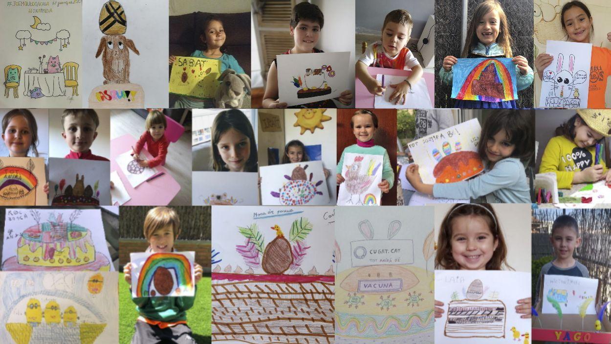 Els infants participants amb els seus dibuixos / Foto: Cugat Mèdia