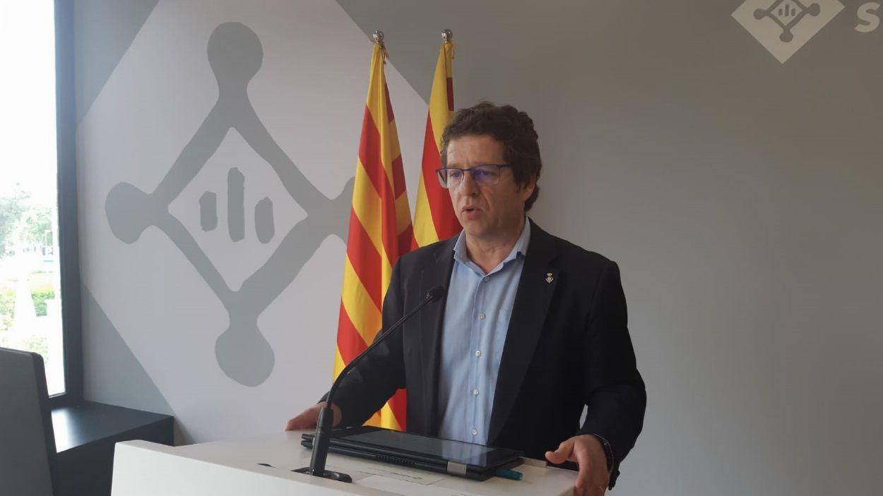 El primer tinent d'alcaldia, Pere Soler, en roda de premsa telemàtica / Foto: Premsa Ajuntament Sant Cugat