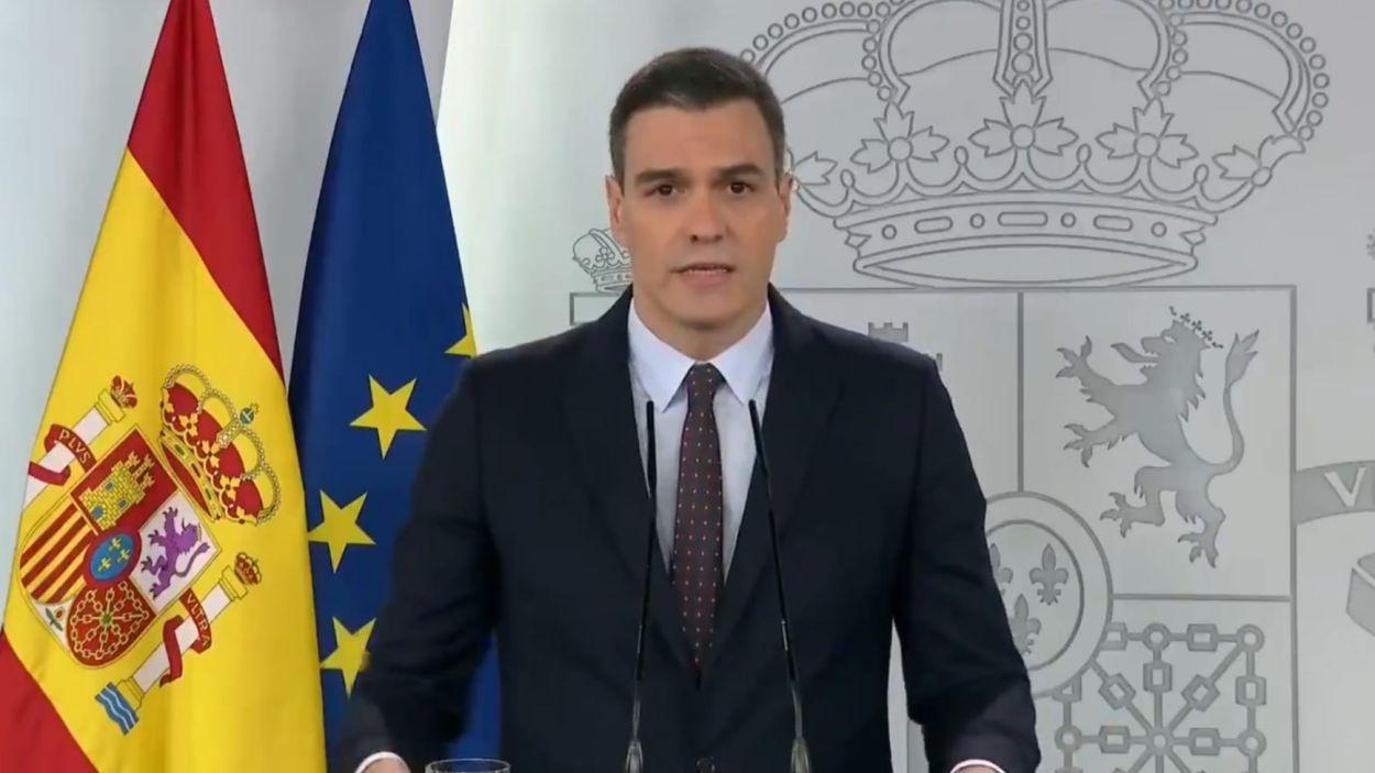 Pedro Sánchez a la roda de premsa / Font: Moncloa
