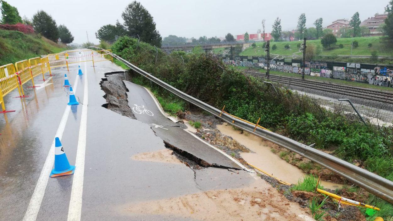 Així va afectar l'esllavissada al camí de Sabadell a Sant Cugat / Foto: Ajuntament