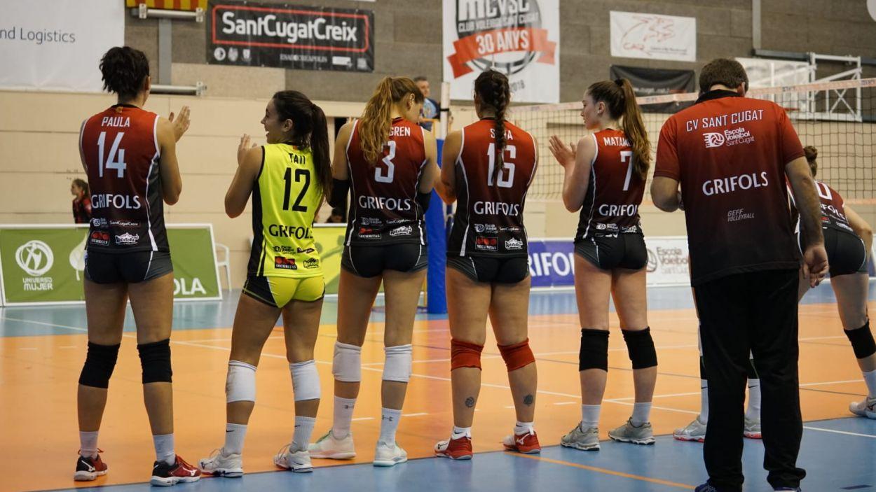 Les jugadores del Volei Sant Cugat en un partit d'aquesta temporada / Foto: Cugat Mèdia