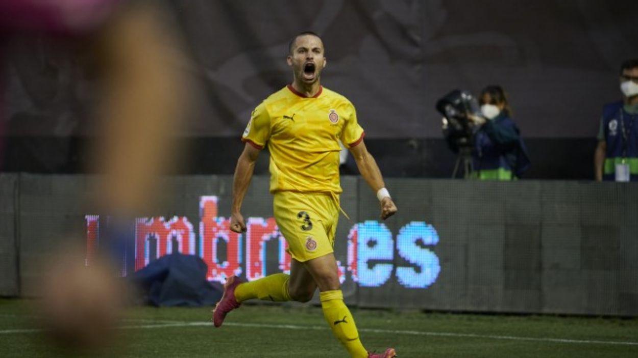 Enric Franquesa, celebrant un gol amb el Girona aquesta temporada / Foto: Girona FC