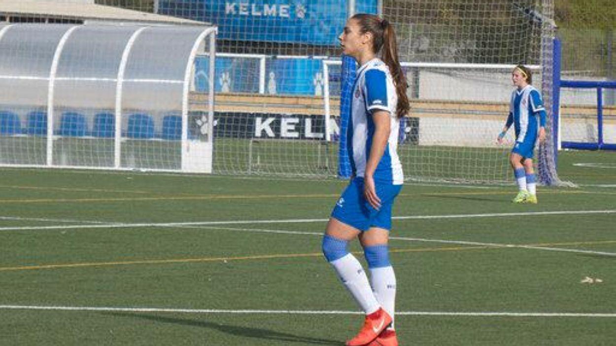 Lidia Rubio durant un partit amb Espanyol B / Font: David Alberich