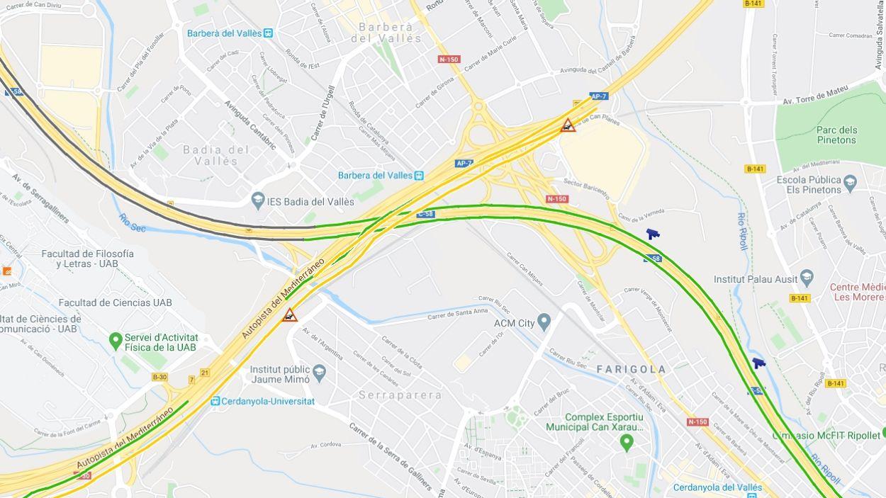 El trànsit amb retencions arriba fins a Sant Cugat / Foto: Google Maps / Trànsit
