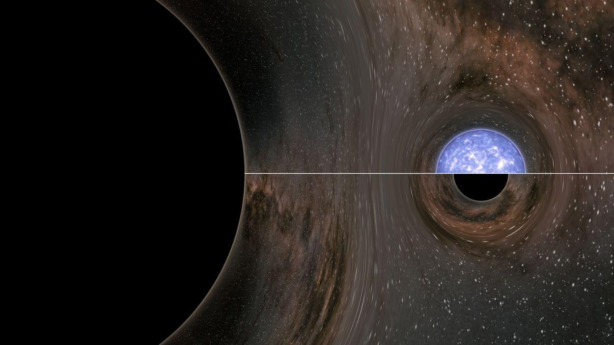Una representació del fenomen / Foto: LIGO/Caltech/MIT/R. Hurt (IPAC)