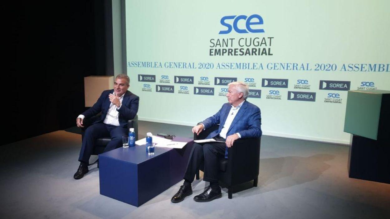 El president de Sant Cugat Empresarial, Joan Franquesa, amb el de la CECOT, Antoni Abad / Foto: SCE