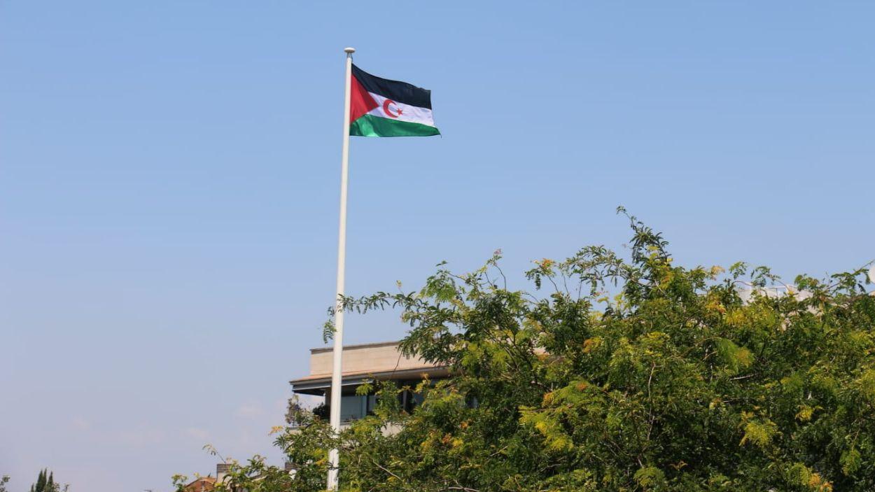 La bandera sahrauí oneja a la plaça de la Vila / Foto: Ajuntament de Sant Cugat