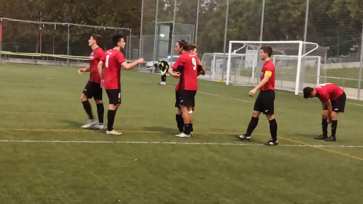 Celebració d'un dels tres gols de Jordi Ranera / Font: Cugat Mèdia