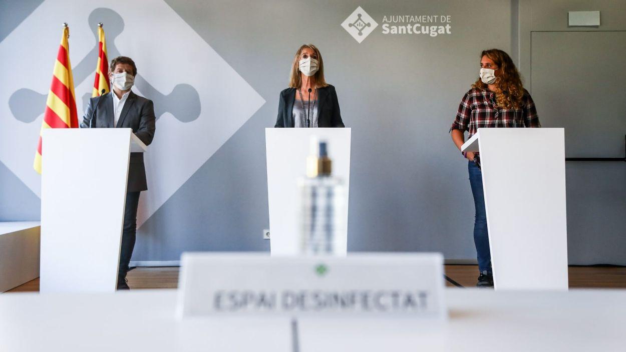 L'equip de govern ha explicat les mesures en roda de premsa / Foto: Lali Puig (Ajuntament)