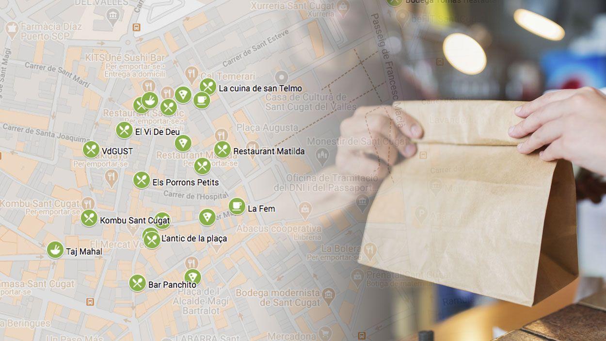 [Mapa] Guia de restaurants de Sant Cugat que fan menjar per emportar i a domicili