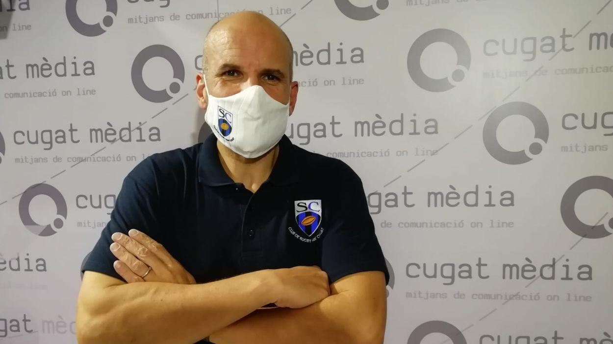 El president del Rugby Sant Cugat, Emilio Gutiérrez, a Cugat Mèdia / Font: Cugat Mèdia