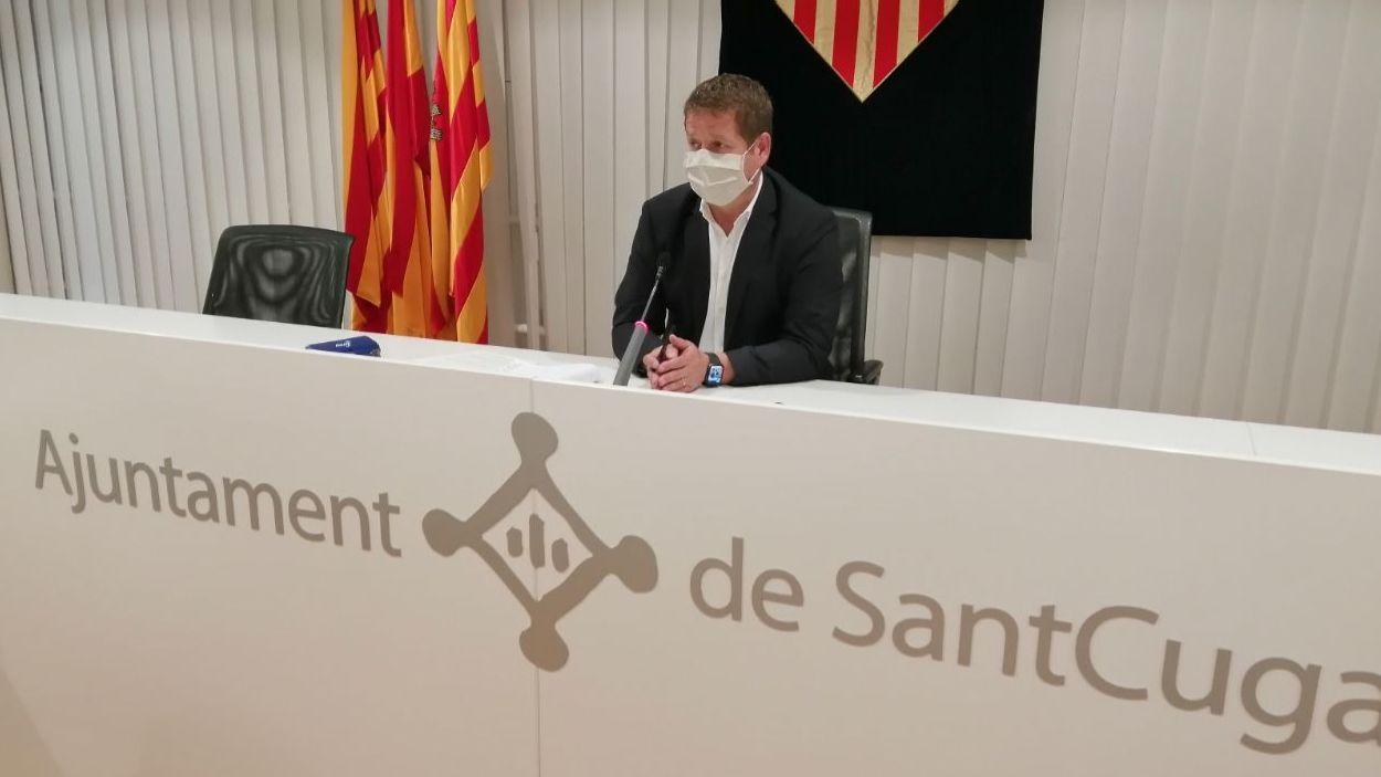 Pere Soler durant la roda de premsa / Foto: Cugat Mèdia