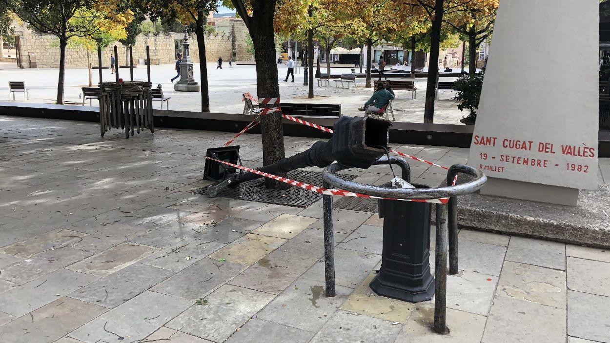 Imatge del fanal malmès a la plaça d'Octavià / Foto: Cugat Mèdia