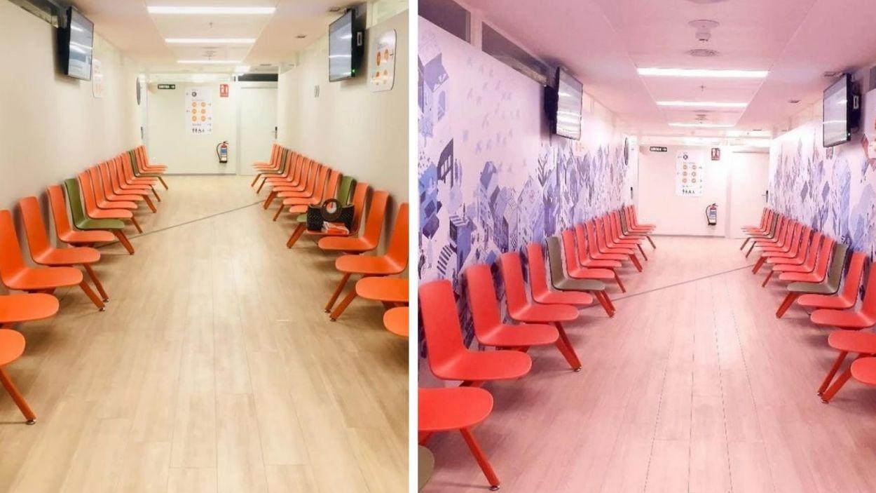 La sala d'espera d'oncologia de l'Hospital Universitari Mútua Terrassa com era abans (esquerra) i com és ara / Foto: Maya's Illusion