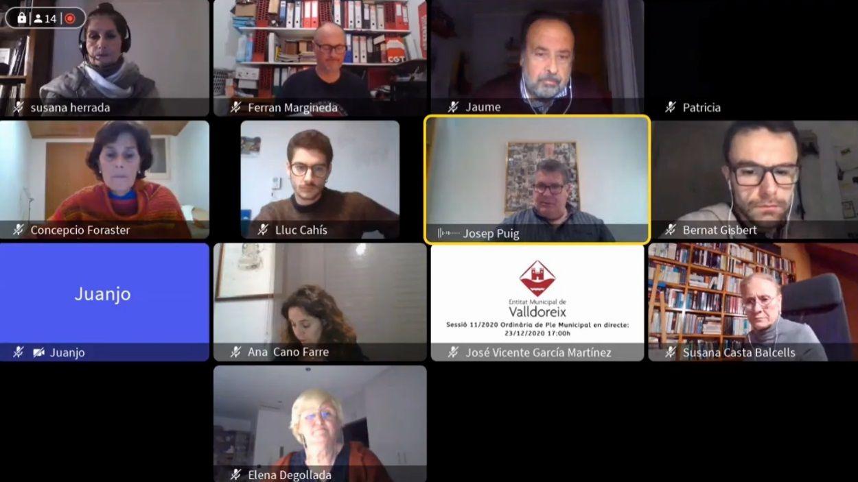 Imatge de la sessió, que ha hagut de ser, de nou, telemàtica / Foto: Youtube EMD Valldoreix