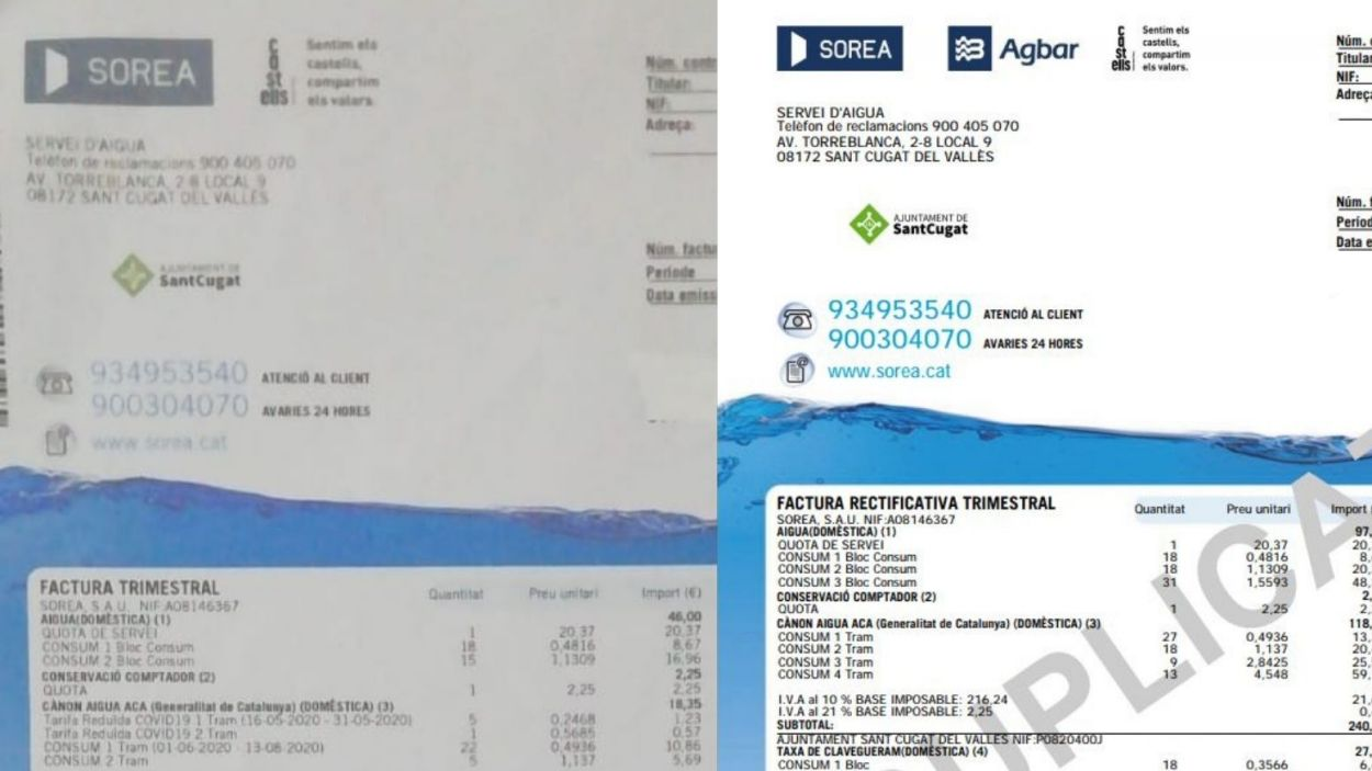 A l'esquerra, la factura com era abans; a la dreta la última factura / Foto: Cugat Mèdia