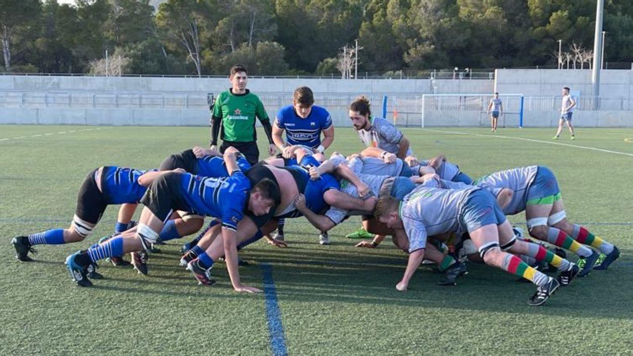 El Rugby Sant Cugat en el seu darrer partit a domicili contra el Barbarians Calvià / Font: Rugby SC