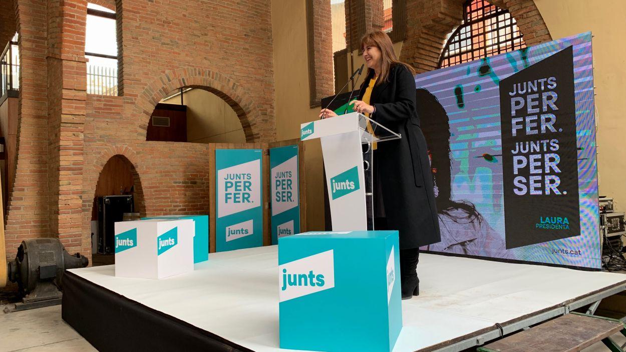 La candidata de Junts, Laura Borràs, en un acte a Sant Cugat / Foto: Cugat Mèdia