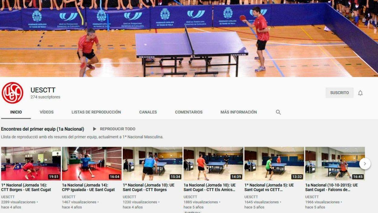 Imatge del canal de Youtube de la UESC de tennis taula / Font: Josep Anton