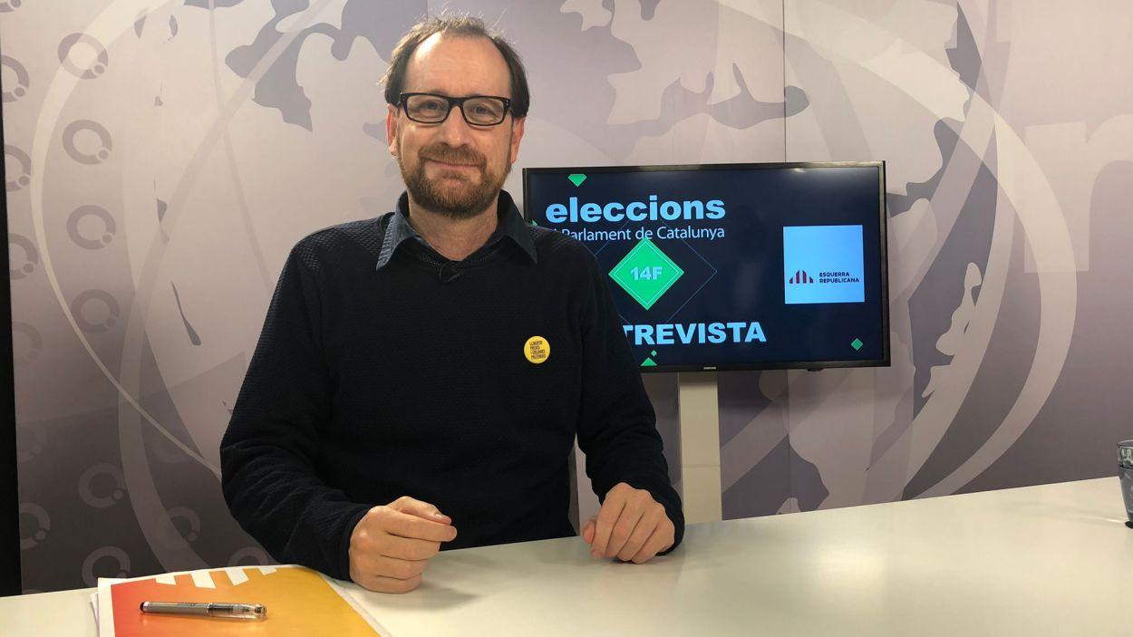 Oriol Cisteró, número 53 d'ERC al  plató de Cugat Mèdia / Foto: Cugat Mèdia