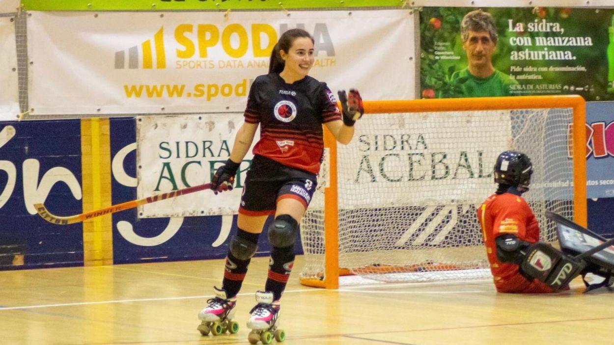 Alba Ambrós, autora d'un hat trick a Gijón / Font: Facebook Telecable Gijón