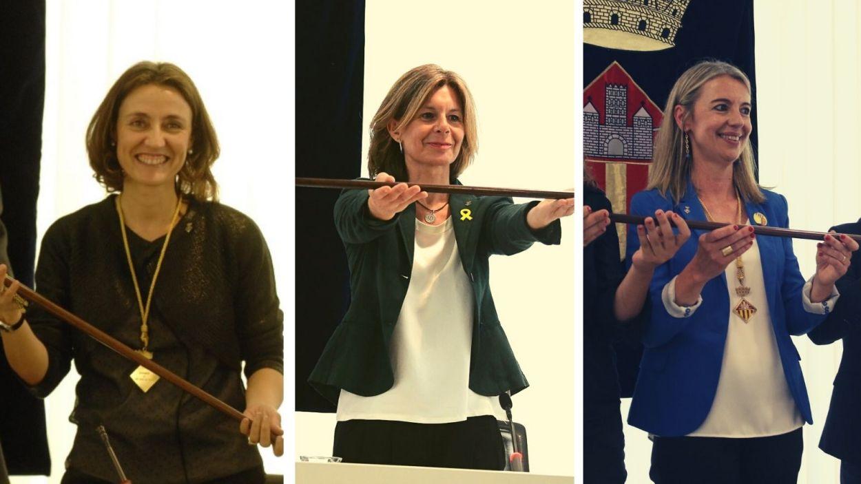 Mercè Conesa, Carmela Fortuny i Mireia Ingla, les tres últimes alcaldesses de Sant Cugat / Fotos: ACN i Ajuntament