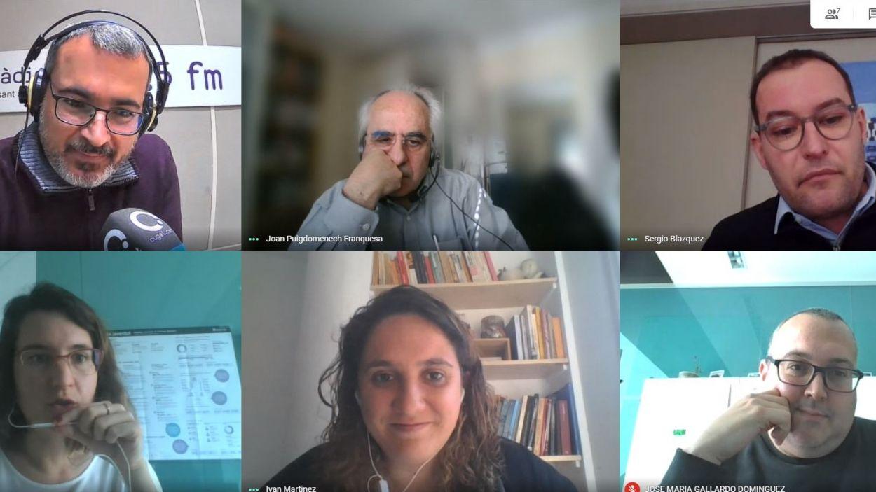 Tertúlia 'El gall del monestir' del 10 de març de 2021 amb Joan Puigdomènech, Sergio Blázquez, Alba Gordó, Núria Gibert i José Gallardo / Foto: Meet