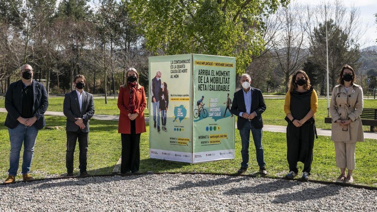 La presentació ha tingut lloc al parc de la Pollancreda, tocant a l'avinguda de Roquetes, un dels límits de l'àrea / Foto: Lali Puig (Ajuntament de Sant Cugat)