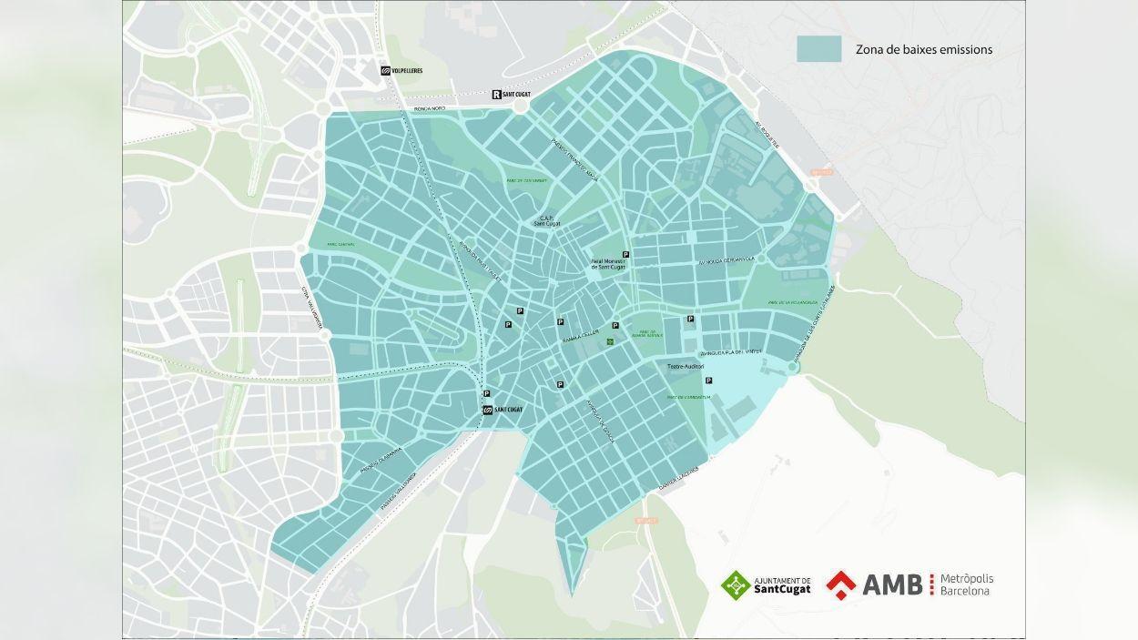 Mapa que delimita la ZBE de Sant Cugat / Foto: Ajuntament