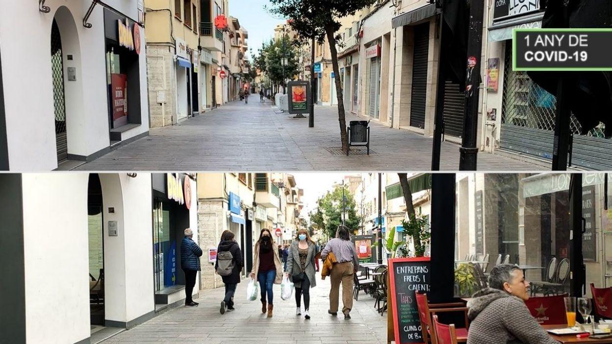 El carrer de Santiago Rusiñol, durant el confinament total i ara / Foto: Cugat Mèdia