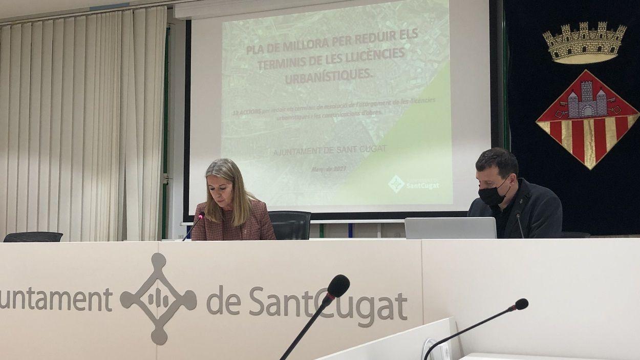 L'alcaldessa, Mireia Ingla, i el tinent d'alcaldia de Desenvolupament Urbà, Francesc Duch / Foto: Cugat Mèdia