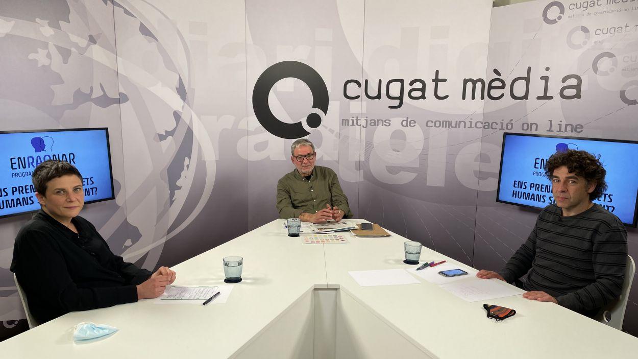 Estel·la Pareja, Xavier Fornells i David Bondia, just abans de la conferència 'Enraonar' / Foto: Cugat Mèdia